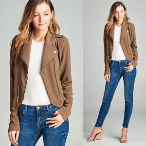 BESTSELLER 🖤 moto jacket zip up mocha tan brown